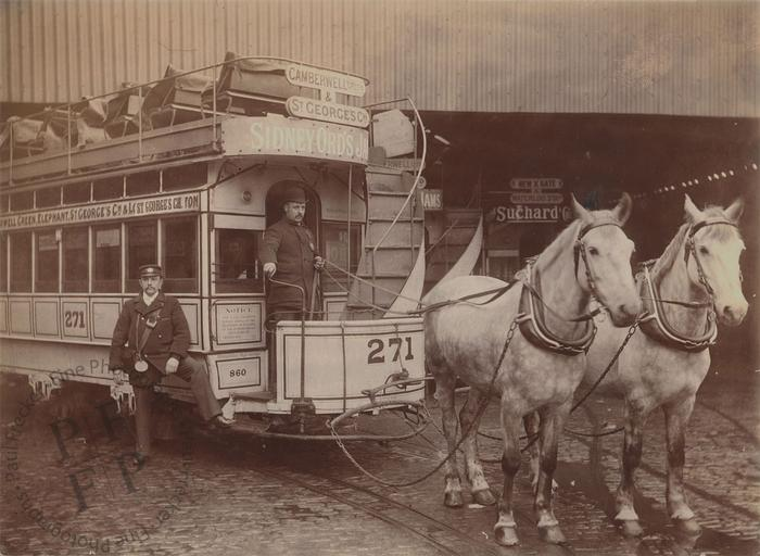 Horse-drawn tram in South London